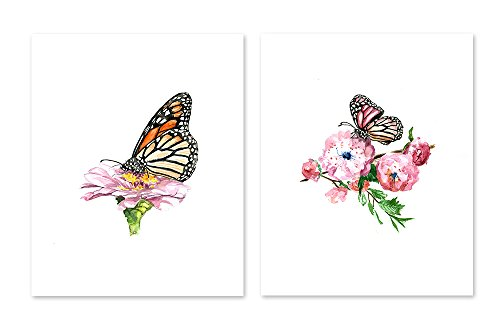 AtoZStudio A31 Butterfly Wall Art Decor Prints - Set of 2 Pictures - Monarch Flower Pink Home Posters- Bedroom Living room Office - Watercolor Painting Artwork (8x10)