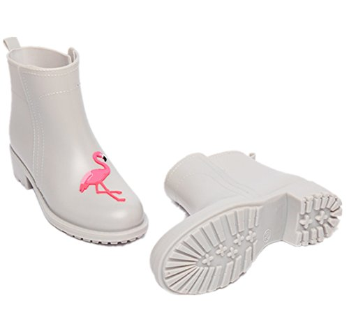 XIUWU Rain Calf Mid Outdoor Shoes Boots Women's Waterproof Garden Beige Flamingo 47qwT4A6