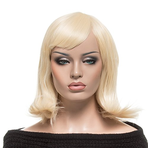 YOPO Wig, Short Wavy Light Blonde Wigs for Women, 16'' Cosplay Medium Length Wig(Light Blonde)
