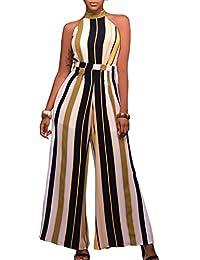 YACUN Women's Halter Stripes Jumpsuit Bell-bottoms Wear To Work Party