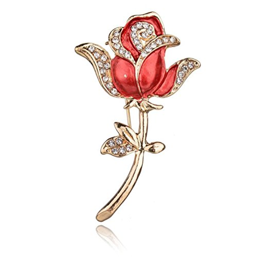 GreatFun Women Elegant Crystal Red Rose Pins Rhinestone Flower Brooch Clothing Accessories (Red) (Red Roses For Lovers)