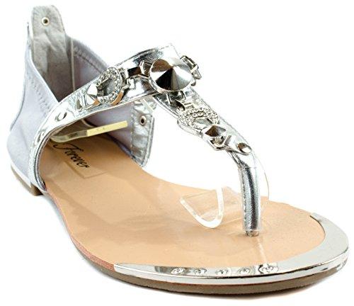 Pour Toujours Les Femmes Tyler-24 Sandales Avec Des Clous Décoratifs Et Plaque De Métal Argent