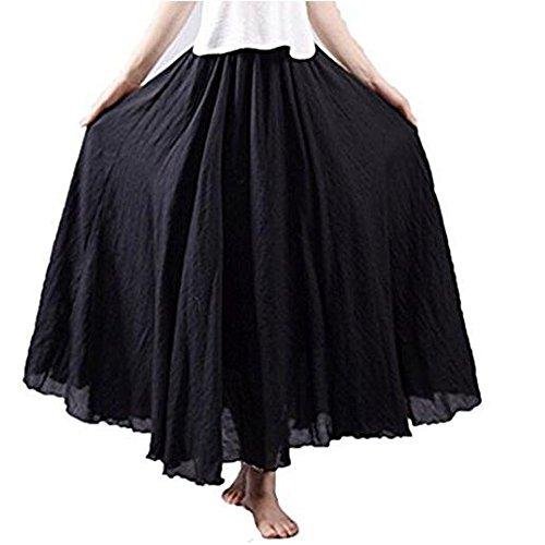 (Hotgirldress Women's Bohemian Style Elastic Waist Band Cotton Linen Long Maxi Skirt Dress Waist 23.0