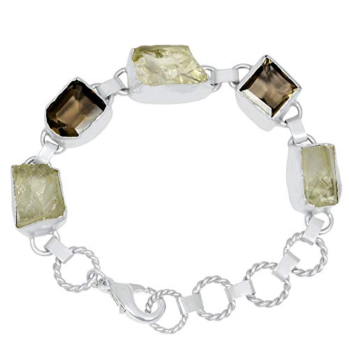 55 Ctw Green Amethyst & Smoky Quartz Bracelets By Orchid Jewelry| Amethyst Jewelry| 925 Sterling Silver Bracelet| February Birthstone| Amethyst Stone Jewelry| Sterling Silver Womens Bracelets