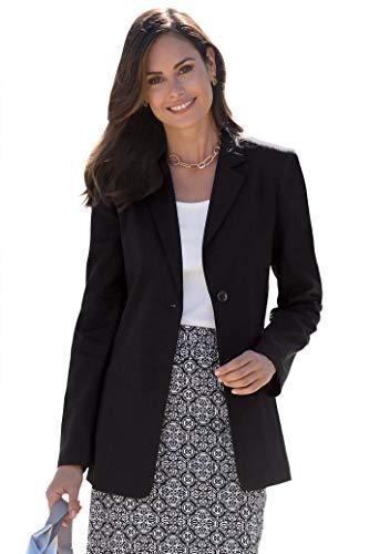 Chadwicks of Boston Womens Long Length Linen Blazer | Casual and Work Blazer Black