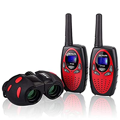 Retevis RT628 Walkie Talkies for Kids Long Range FRS Radio Toy Gifts for 3-12 Years Boys and Girls(Red,2 Pack) and Binoculars for Kids Outside Adventure Camping (Black,1 Pack): Car Electronics