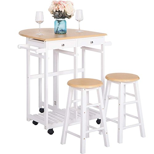 Breakfast Cart With 2 Stools,JULYFOX Drop Leaf Kitchen Island With Seating Chairs Wheels Storage Drawers Tower Rack Counter Height Tall Pub Bar Table Set 3 Piece Oak For Small Spaces