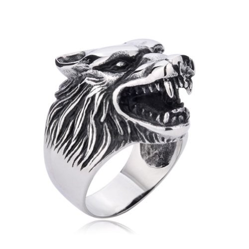 Moon Wings Vintage Men's Ring Stainless Steel Wolf Head Ring Size 9 - Wolf Head Ring