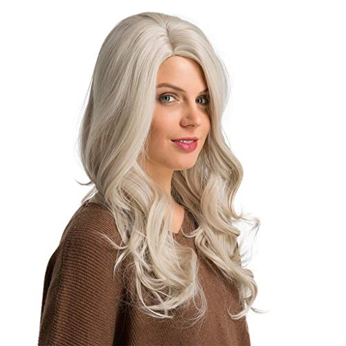 High Long Big Wavy Hair High Temperature Silk Women Rice White Partial Cosplay Party Costume Wig (A) -