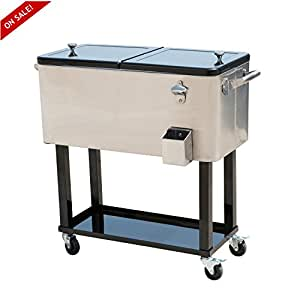 Rolling Stainless Steel Cooler Cart 80qt Patio Portable Outdoor Ice Beer Chest -Skroutz