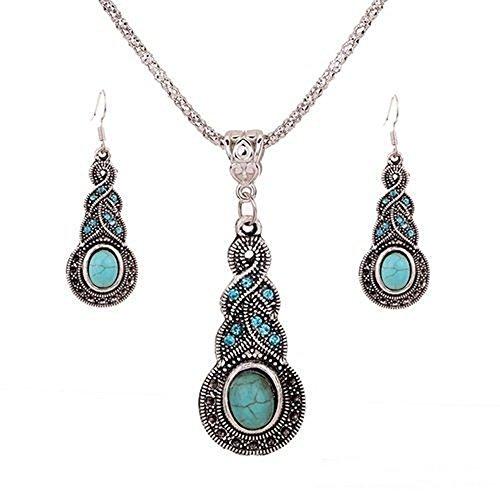 Bejade Fashion Womens Retro Turquoise Rhinestone Earrings Necklace Jewelry Set