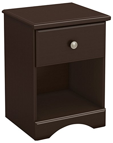 South Shore Morning Dew 1-Drawer Nightstand, Chocolate with Metal Knob
