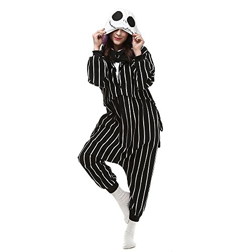 HKSNG Jack Skellington Skull Adults Animal Footed Pajamas Kigurumi Onesies Cosplay Costumes (L(168-178cm)) Black and -