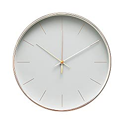 Arospa Minimalist Design Contemporary Cream Palette 9.5 Non-Ticking Silent Wall Clock with Rose Gold Frame (Earl Gray)