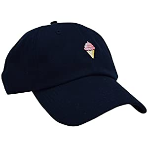 Skyed Apparel Ice Cream Embroidery Adjustable Baseball Cap Baseball Hat Dad Hat (Dark Blue)