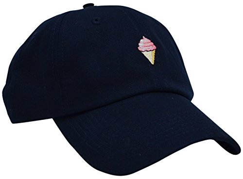 Skyed Apparel ICE CREAM Embroidery Adjustable Baseball Cap Hat (Dark Blue)