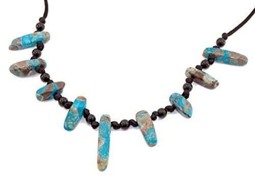 Designer Collection Polished Block Tooth Necklace, Blue Ocean Jasper w/ Black Agate Pendant 5.11