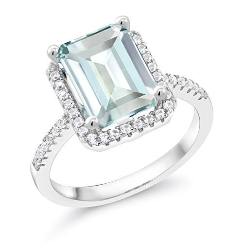 Gem Stone King 3.46 Ct Octagon Sky Blue Simulated Aquamarine 925 Sterling Silver Ring (Size ()