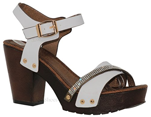 MVE Shoes Women's Ankle Strap Faux Wood Platform Chunky Heel Sandal,vint-02 White pu 10 by MVE Shoes (Image #7)