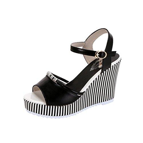 Lolittas Summer Beach Boho Wedge Sandals Women Ladies, Sparkly High Heel Waterploof Platform Peep Toe Slingback Ankle Strap Wide Fit Waterproof Pantshoes Size 2-7 Black