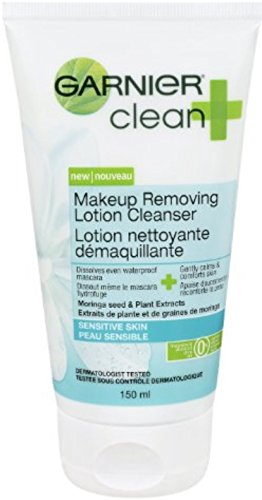 Makeup Cleansing Lotion (Garnier Clean Makeup Removing Lotion Cleanser Sensitive Skin, 5 Fluid Ounces (Pack of 4))