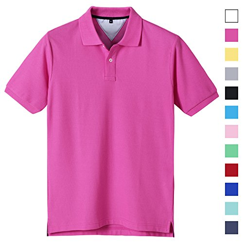 ACOTOP Mens Pure Cotton Classic Solid Short Sleeve Polo Shirt