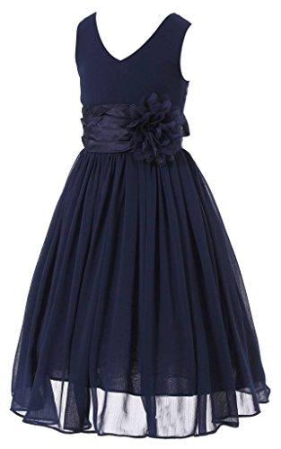 Bow Dream Flower Girl Dress Junior Bridesmaids V-Neckline Chiffon Navy Blue 16 by Bow Dream (Image #3)