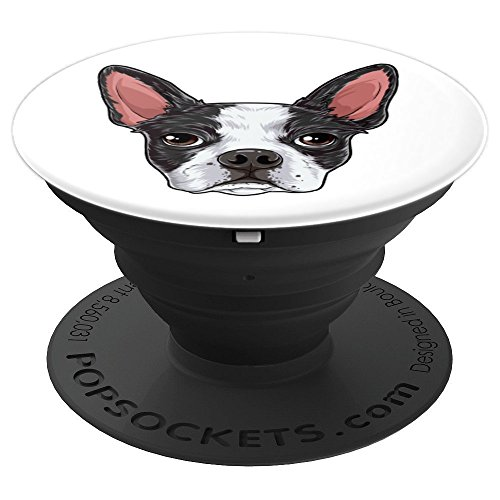 Boston Terrier Head Funny Dog Meme Puppy Lovers Gift Kids - PopSockets Grip and Stand for Phones and Tablets