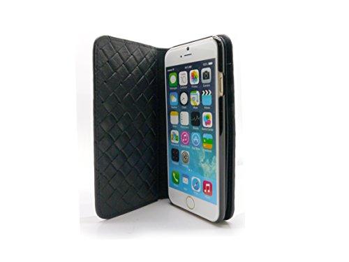 Uunique Luxe exotique tissage Étui portefeuille Coque pour iPhone 6/6S–Noir