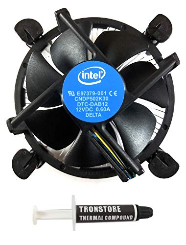 Intel Core i3 / i5 / i7 Socket 1156/1155 / 1151/1150 4-Pin Connector CPU Cooler with Aluminum Heatsink & 3.5-Inch Fan with TRONSTORE Thermal Paste for Desktop PC Computer (TS2)