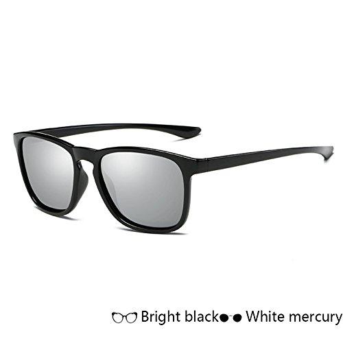 gafas Gafas negro polarizadas TL Vintage de White cuadrado Mercury Sunglasses espejo para gafas de sol de de rayos sol sol Gafas de hombre hombres atrás mate qnBqWcfH5X