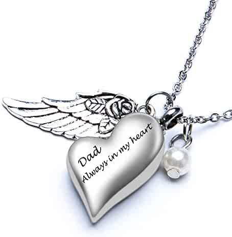 e48bfc14cc Fanery Sue Personalized Cremation Urn Necklace for Ashes Memorial Custom  Heart Angel Wing Pendant