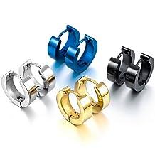 MOWOM Silver Black Blue Gold Stainless Steel Stud Hoop Huggie Earrings ( 4 Pairs )