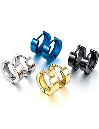 Silver Black Blue Gold Stainless Steel Stud Hoop huggie Earrings ( 4 Pairs )