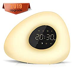 Sunrise Alarm Clock, Wake up Light 10 Nature Sounds, Color Light, Bedside Sunrise Simulator,Touch Control for Heavy Sleepers