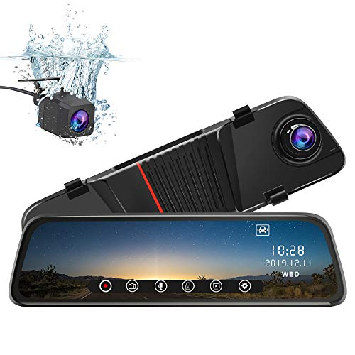 junsun Mirror Dash Cam Front and Rear, 10 Inch Touch Screen Front 1080P Rear View 1080P Dual Lens 170°Wide Angle with Backup Camera G-Sensor Parking Monitor Night Vision ()