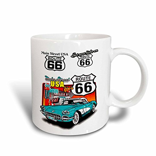 3dRose Route 66 Mug, 15-Ounce ()