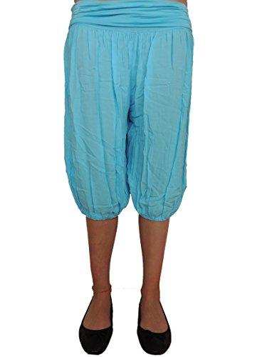 11 Farben kurze Damen Uni Pumphosen Gr. 42 44 46 48 50 52 54 Hellblau-Dunkel