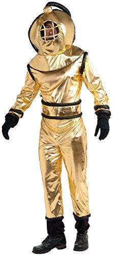 Forum Novelties Men's Deep Sea Diver Costume, Gold, Standard -