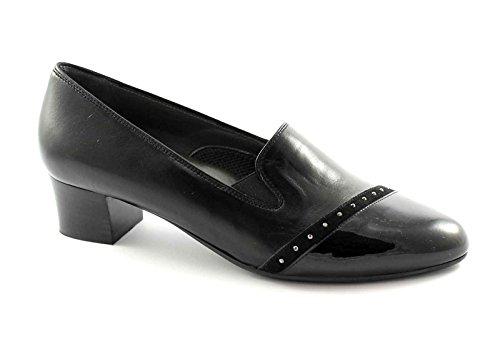 MELLUSO X5304 zapatos negros mujer de solaz en posición vertical elástica Nero