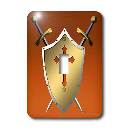 3dRose LLC lsp_40080_1 Golden Shield with Crossed Swords and The Christian Cross and Background In Cognac Single Toggle Switch