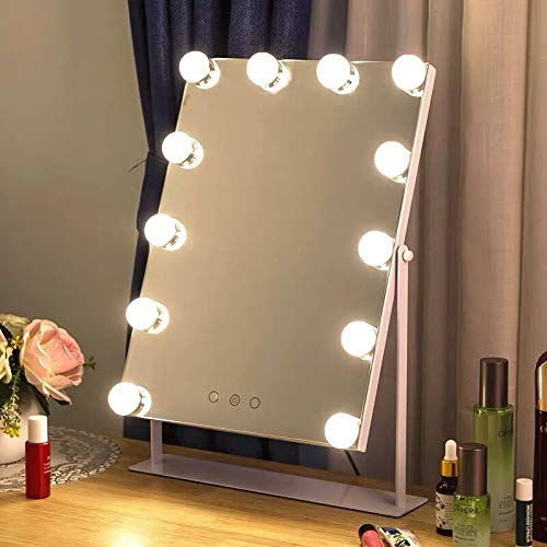 Moon Moon Hollywood Vanity Mirror with Lights Professional Makeup Mirror Lighted Vanity Makeup Table Set with Smart Touch Adjustable LED Lights, 12 x 3W Super Bright Dimmable Touch Control LED Bul
