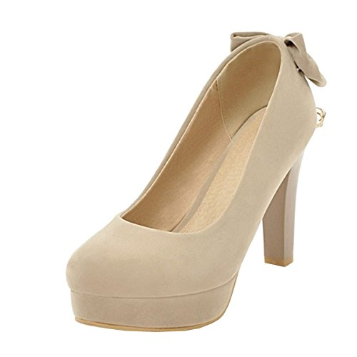 SJJH Court Shoes with High Heel Slip-on Dressy Shoes with Large Beige wrHFH7B
