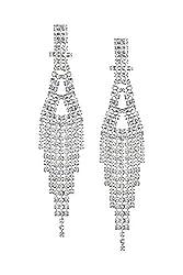 """3 ¾"""" Inch Long Clear Crystal Drop Earrings"""