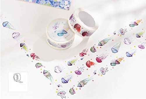 Home-organizer Tech Colorful Masking Tape Decorative Paper Tape with Pattern Designs, Cute Colored Collection From DIY Crew (Jellyfish)