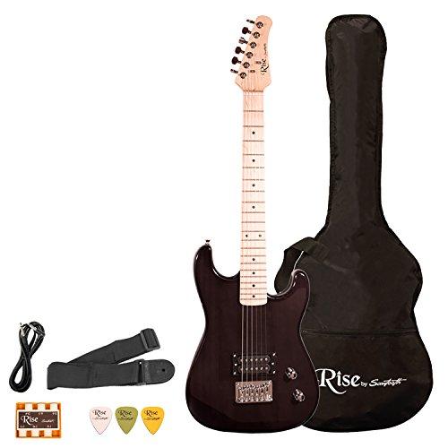Sawtooth ST-RISE-ST-3/4-BLK Rise 3/4 Size Student Electric Guitar Bundle, Trans Black