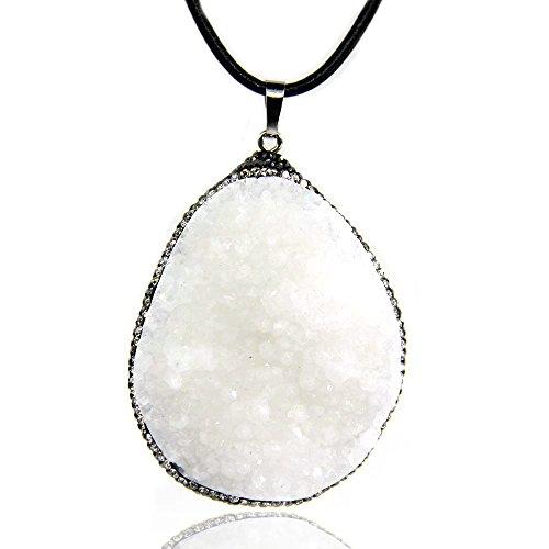 Amandastone Natural White Quartz Drusy Geode Crystal Cluster CZ Package Edge Pendant Necklaces 18'' ()