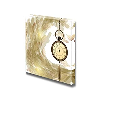 Canvas Prints Wall Art - Vintage Style Pocket Watches on Chain and Wave of Foliage | Modern Wall Decor/Home Art Gallery Wraps Giclee Print & Wood Framed. Ready to Hang - 12
