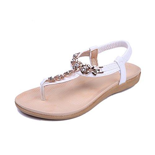 Amoonyfashion Womens Open Teen Lage Hak Zacht Materiaal Pu Stevige String Sandalen Met Metalornament White