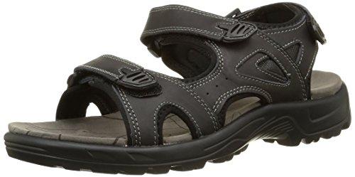 gepolsterte oben kreuz innensohle riemen sandalen herren mit und Schwarz vorne klettverschluss leder 5qnXxwRFz